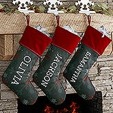 Personalized Chalkboard Christmas Stocking - Chalked Snowflakes - 17466