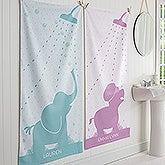 Personalized Animals Baby Bath Towel - Baby Zoo Animals - 17469
