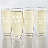 Personalized Stemless Champagne Flute Set Of 4 - Initial Impressions - 17471