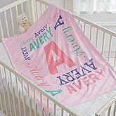 Personalized Fleece Baby Blanket - Repeating Name - 17474