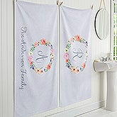 Personalized Monogram Bath Towels - Floral Wreath - 17476