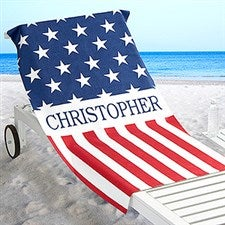 Personalized All American Beach Towel - Red, White and Blue - 17492
