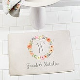 Personalized Monogram Memory Foam Bath Mat - Floral Wreath - 17506