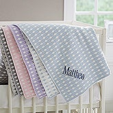 Trendy Dots Embroidered Knit Baby Blanket - 17510