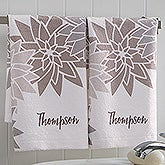 Personalized Family Flowers Hand Towel Set - Mod Floral - 17527