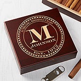 Personalized Cherry Wood Cigar Humidor 20 Count - Gentleman's Seal - 17535