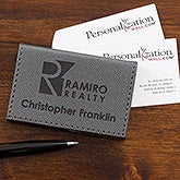 Business Logo Personalized Business Card Case - Gray - 17542