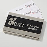 Black & Silver Personalized Logo Business Card Case - 17543