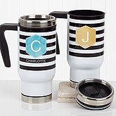 Personalized Commuter Travel Mug for Women - Modern Stripe - 17562