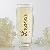 Personalized Stemless Champagne Flute - Trendy Vinyl Signature - 17569