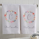 Personalized Monogram Hand Towel Set - Floral Wreath - 17574