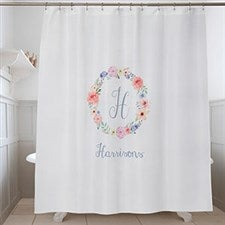Personalized Shower Curtain - Floral Wreath - 17589