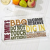 Personalized BBQ Acrylic Serving Tray - BBQ Rules - 17605