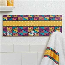 Personalized Towel Hook Racks - Geometric Designs - 17621
