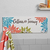 Personalized Towel Hook Rack - Mod Floral - 17622