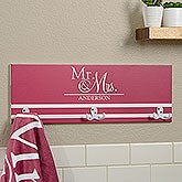 Personalized Towel Hook Rack For Newlyweds - 17631