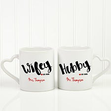 Personalized Married Couple Coffee Mug Set - Wifey And Hubby - 17676