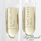 Luigi Bormioli® Wedding Personalized Modern Champagne Flute Set  - 17701