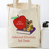 Personalized Teddy Bear Teacher Tote Bag - 17719