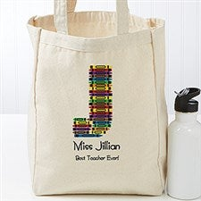 Personalized Teacher Tote Bag - Crayon Letter - 17720