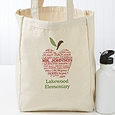 Personalized Teacher Tote Bag - Apple Scroll - 17721