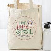 Personalized Grandma Canvas Tote Bag - Live, Love, Spoil - 17730
