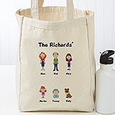 Personalized Family Character Collection Canvas Tote Bag - 17735