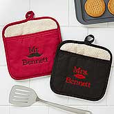 Personalized Pot Holders - Mr & Mrs Designs - 17773