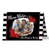 Personalized Modern Stripe Photo Christmas Cards - 17822