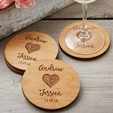 Rustic Wedding Party Favors - Personalized Coasters - 17825