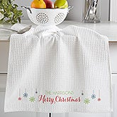 Personalized Christmas Kitchen Towels - Snowflakes - 17850