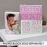 Personalized Baby Nursery Rectangle Shelf Blocks - Birth Announcement - 17858