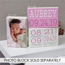Personalized Baby Nursery Rectangle Shelf Blocks - Birth Announcement - 17858
