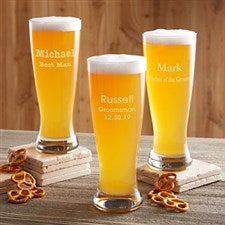Personalized Wedding Groomsmen Beer Pilsner Glass - 17862