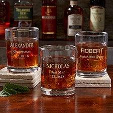 Personalized Groomsmen Whiskey Glass - 17864