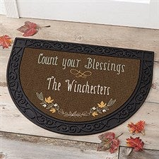 Personalized Half Round Doormat - Count Your Blessings - 17869
