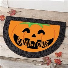 Personalized Halloween Half Round Doormat - Pumpkin - 17870