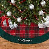 Personalized Holiday Plaid Christmas Tree Skirt - 17896