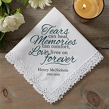 Personalized Handkerchief Sympathy Gift - Love Lives On - 17916