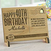Personalized Birthday Keepsake - Vintage Wood Postcard - 17917