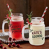 Eat, Drink & Be Merry Personalized Frosted Mason Jar - 17934
