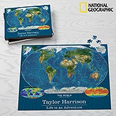 National Geographic® World Map Personalized Jumbo 500 Piece Puzzle - 17951