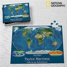Personalized World Map Puzzle - 500 Jumbo Piece - 17951