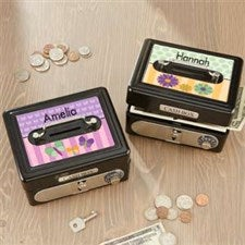 Personalized Kids Cash Box - For Girls - 17952