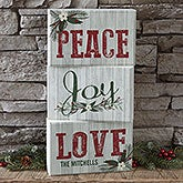 Personalized Wood Blocks - Peace, Love, Joy - 17966