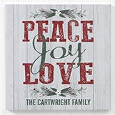 Peace Joy Love Personalized Christmas Wall Art - 17970