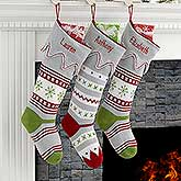 Embroidered Trendy Holiday Knit Stockings - Christmas Sweater - 17973