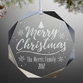 Engraved Octagon Premium Christmas Ornament - Merry Christmas - 17978
