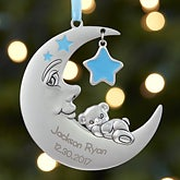 Baby Boy First Christmas Ornament - Personalized Moon - 17984