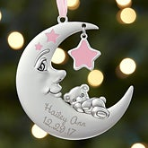 Baby Girl First Christmas Ornament - Personalized Moon - 17985